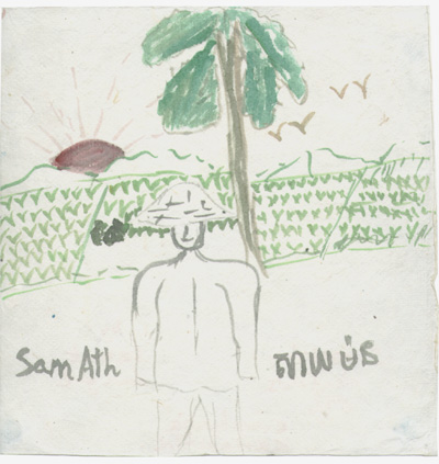 Kampuchia- Rice fields by local girl from Orphanage, me in forground